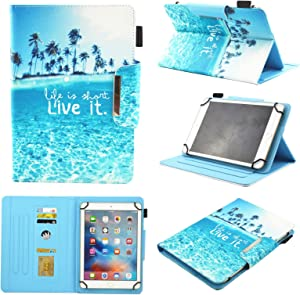 Universal Case for 9.5-10.5 inch Tablet, Chgdss Function Wallet Protective Case [Multi-Angle Viewing] PU Leather Folio Cute Cartoon Cover,for All 9.5-10.5 inch iPad Android Windows Tablet,Dream Beach