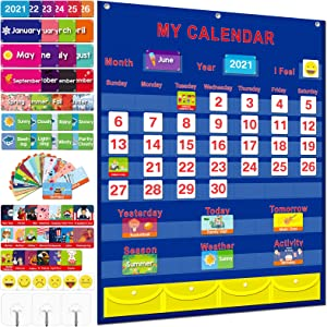 """Calendar and Weather Pocket Chart for Kids Learning, Monthly Calendar for Home School Kindergarten Preschool Classroom Supplies, Large 35""""x27.5"""" with 158 Cards Homeschooling Calendar Pocket Chart"""