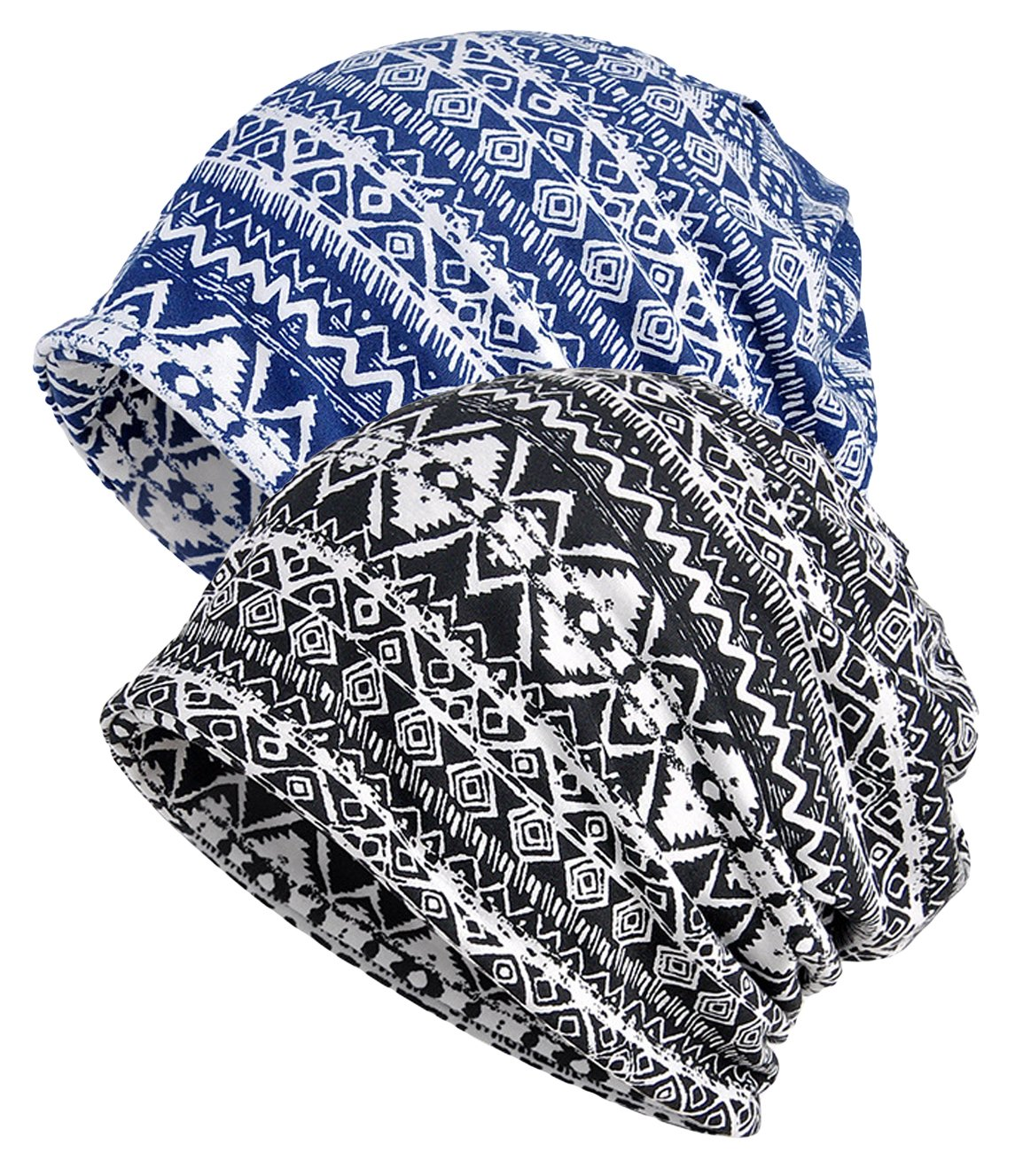 Qunson Women's Printed Baggy Slouchy Beanie Chemo Hat Cap Pack of 2