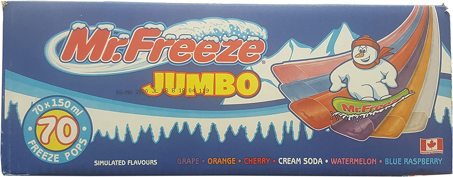 Mr. Freeze Jumbo Ice Pops, 150ml/5oz, 70 Pack, Imported from Canada}
