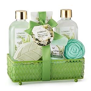 Mother's Day Spa Gift Basket - Magnolia &Tuberose Fragrance - 7 Piece Bath & Body Set For Women/Men, Contains Shower Gel, Bubble Bath, Body Lotion, Bath Soap, Bath Bomb, Bath Salt & Wired Basket