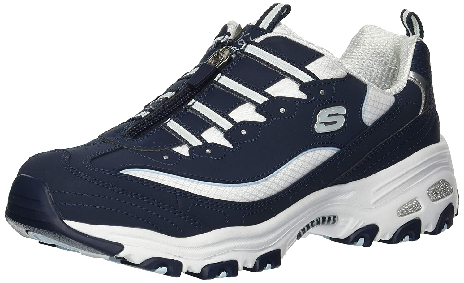 Navy White Skechers Womens D'Lites-Zip Along Sneaker