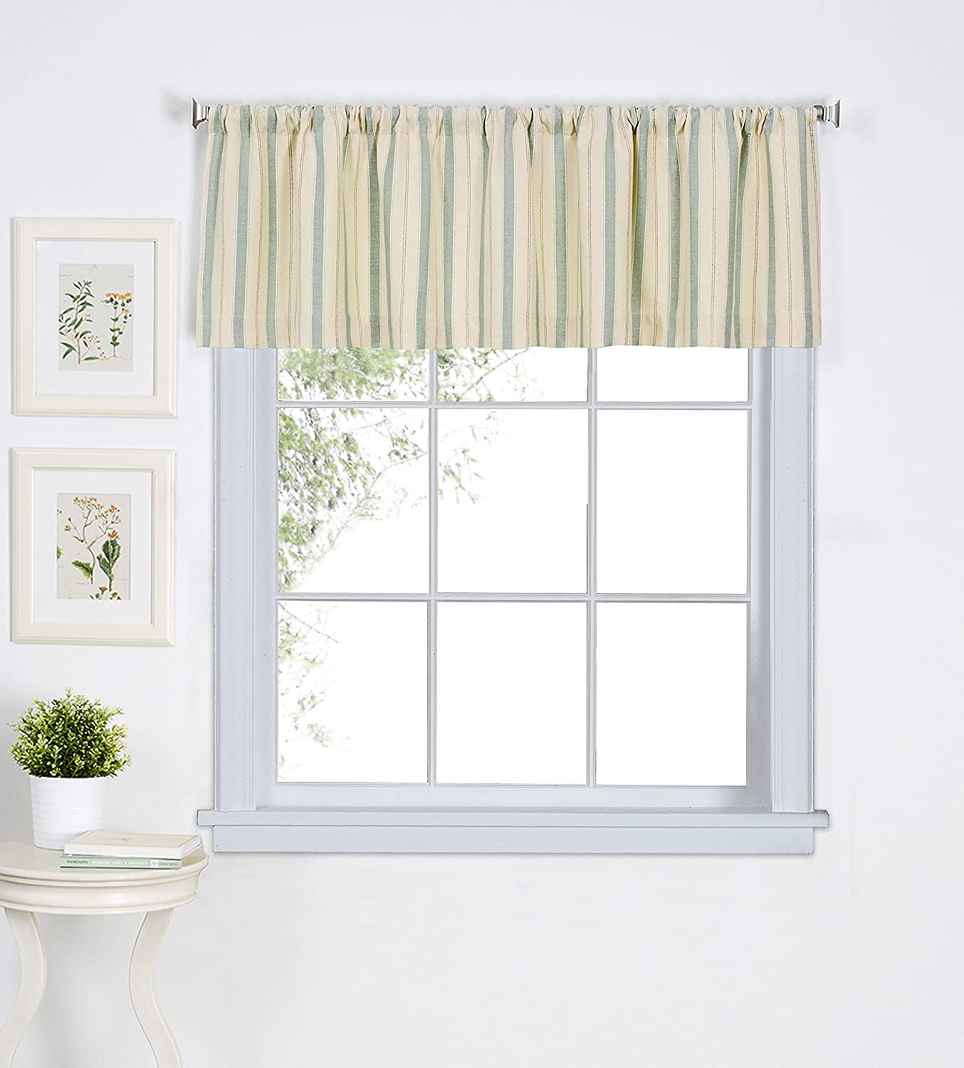 Elrene Home Fashions 026865775693 Rod Pocket Stripe Cafe/Kitchen Valance Window Curtain, 60