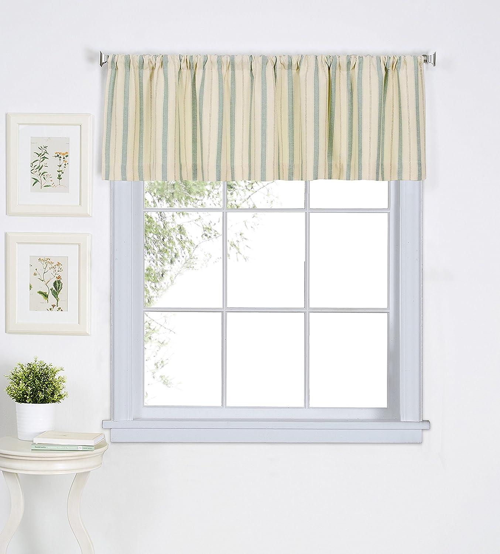 "Elrene Home Fashions 026865775693 Rod Pocket Stripe Cafe/Kitchen Valance Window Curtain, 60"" x 15"", Gold 60"" x 15"""