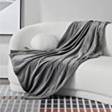 Bedsure Fleece Blankets Twin Size Grey - 300GSM Lightweight Plush Fuzzy Cozy Soft Twin Blanket for Bed, Sofa, Couch, Travel,