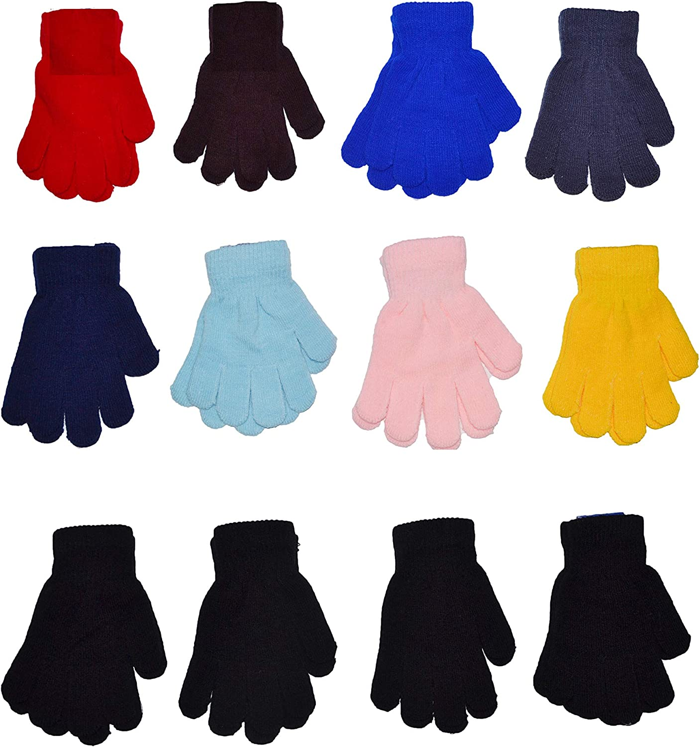 12 Pairs Wholesale Boys Girls Magic Knit Touchscreen Gloves OPT Brand 6 to 18 years