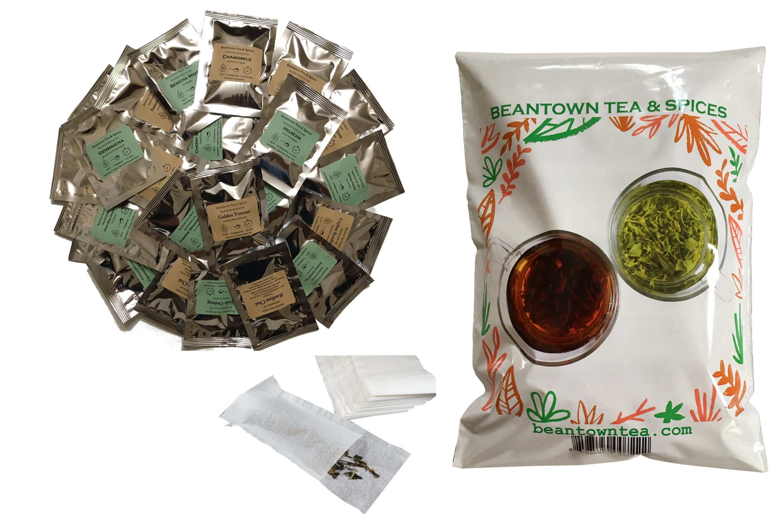 Beantown Tea & Spices - Tea Sampler Value Pack. 30 Gourmet Loose Leaf Tea Samplers & 100 Filters. Variety Pack. Great Gift Idea and Stocking Stuffers. Green, White, Black and Herbal Teas by Beantown Tea & Spices