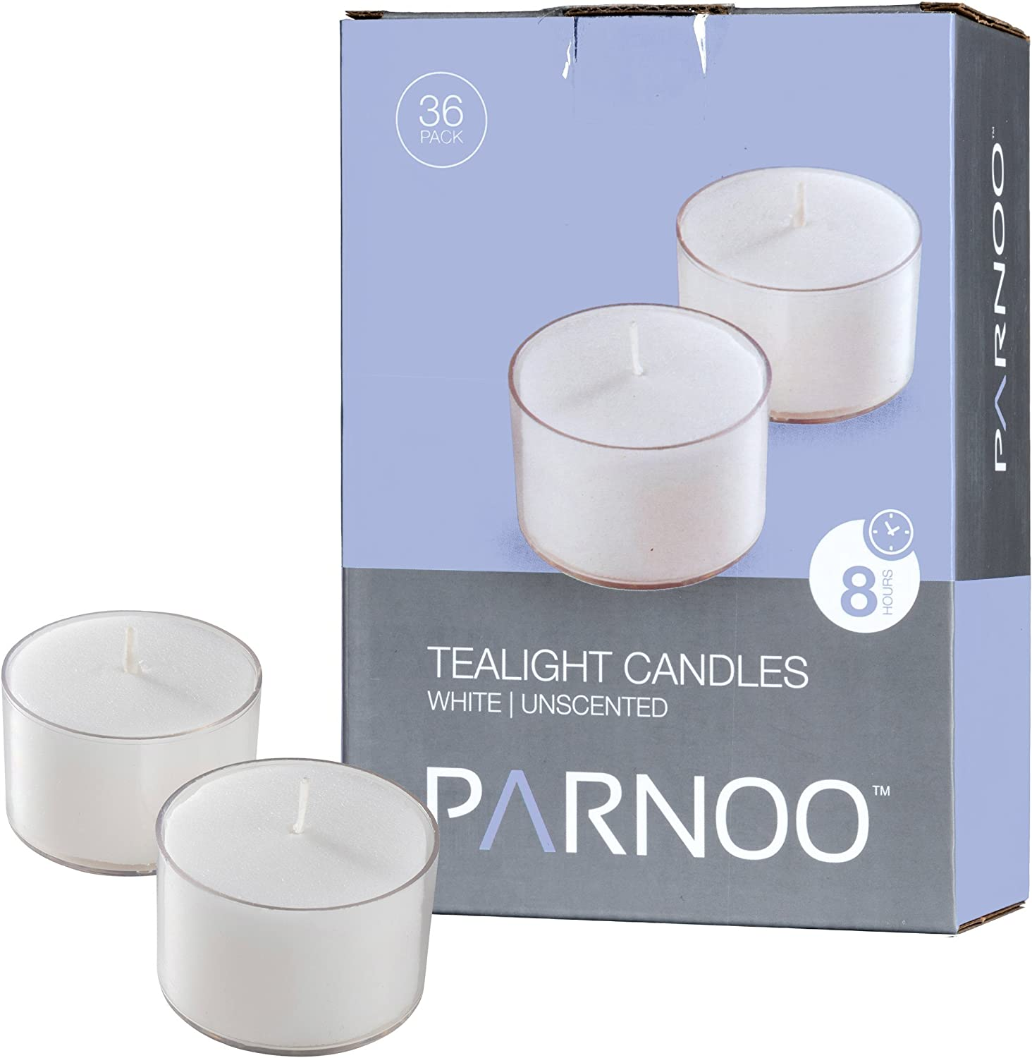 Set of 100 CandleNScent 5 Hour Tea Light Candles in Clear Cup Extended Burn Time tealights