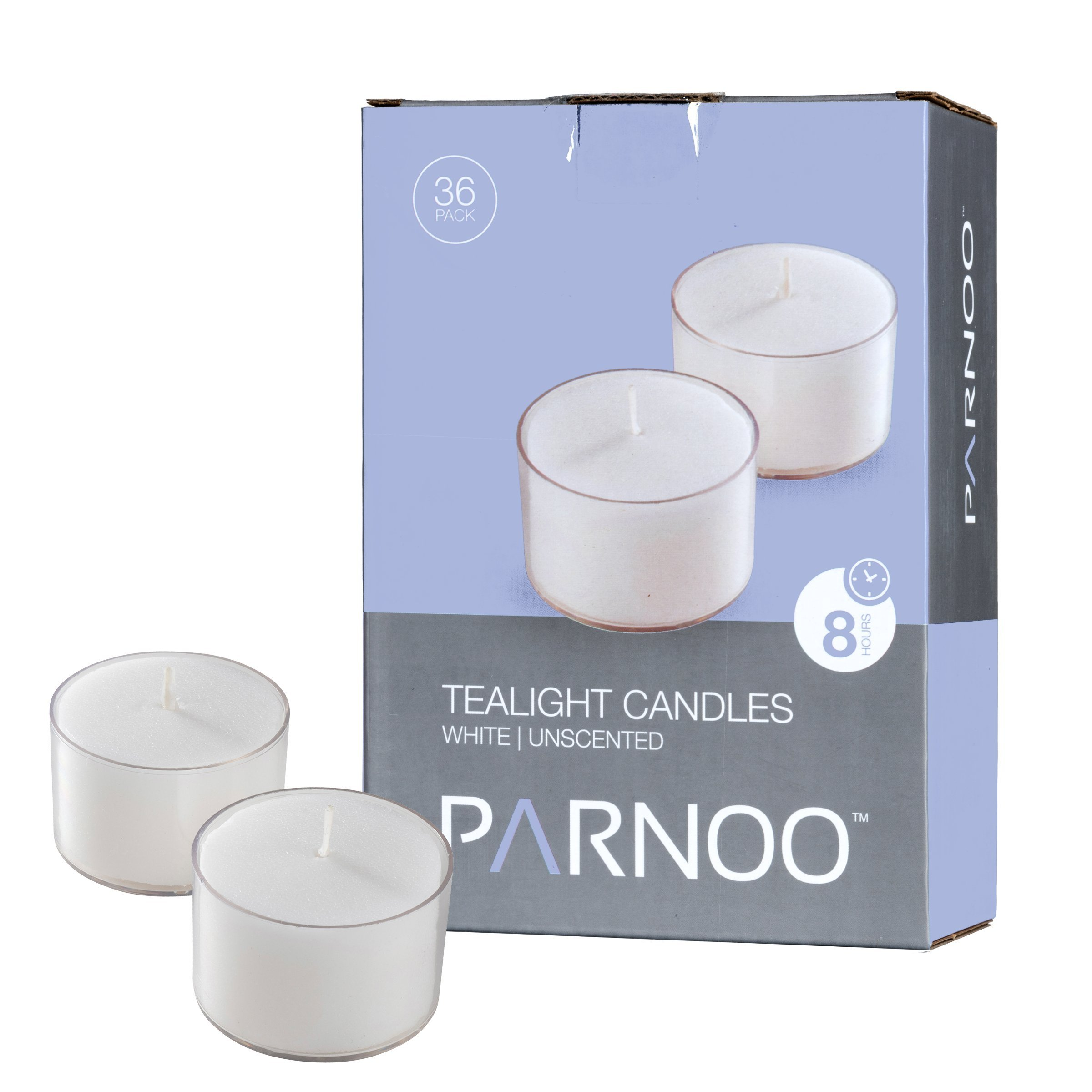 White Tealight Candles with Clear Cup - Set of 36 Unscented Tea Lights - 8 Hour Burn Time