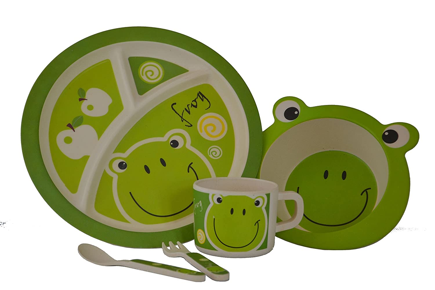 Baby, Toddler & Child friendly 5 Piece Dinner Set: Eco-friendly Bamboo Fibre Dining Set in Frog Design by Mini Mumbler® | Tableware | Dinnerware | Mealtimes | Weaning | Self-Feeding | Independence