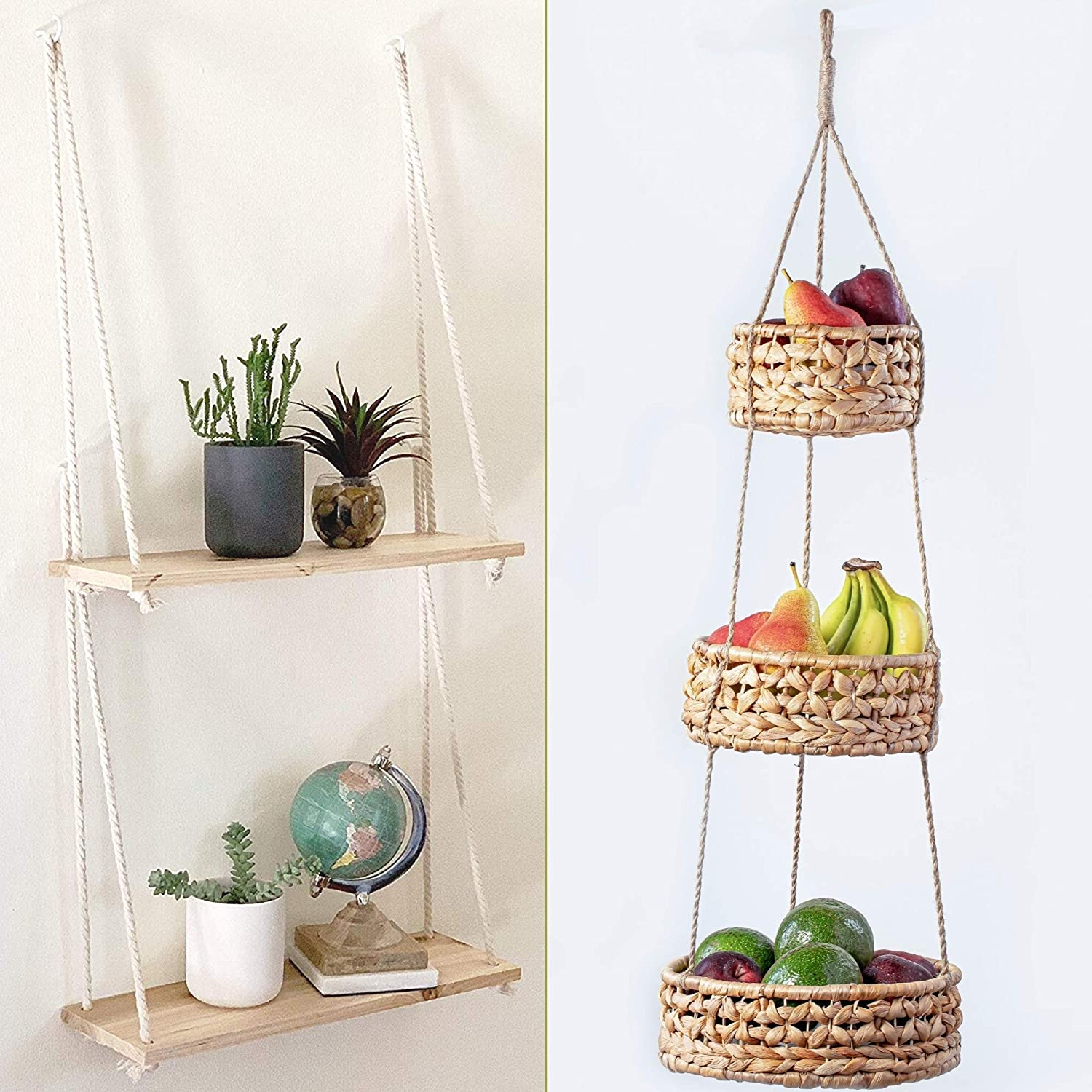 Base Roots Natural Woven Seagrass Wicker Baskets & Handcrafted Wooden Wall Shelf Set | Storage Organizer | Plant Holder | Handmade Modern Boho Home Decor | Countertop Space Saver for Fruits or Vegetab