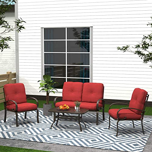 Cloud Mountain Finefind 4 Piece Patio Furniture Set Outdoor Conversation Set Cushioned Sofa Set Garden Love Seat Wrought Iron Coffee Table Loveseat Sofa 2 Chair