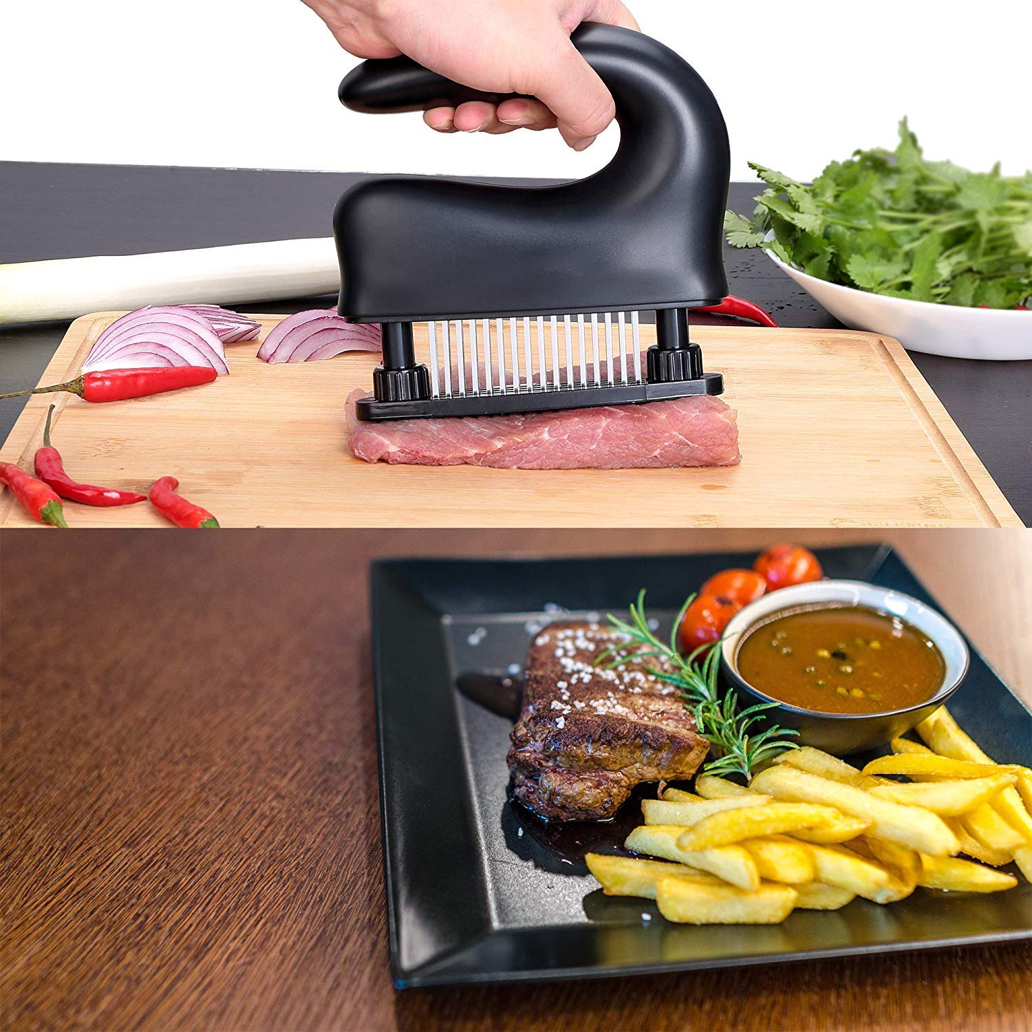 48 Stainless Steel Ultra Sharp Needle Blade Kitchen Tenderizer for Tenderizing Steak Marinade /& Flavor Maximizer Kitchen Accessories Cykelar Meat Tenderizer Tool with Holder Beef Black