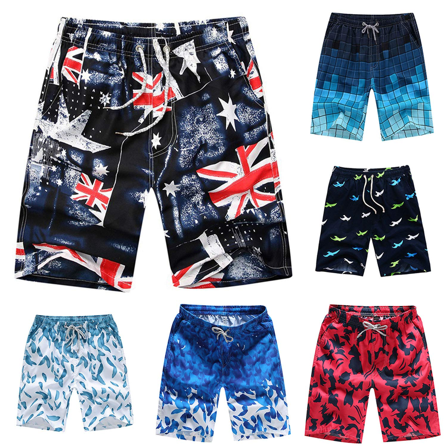 TZJY-Store 2019 New Printed Loose Cord Beach Board Short Mens Casual Shorts,Verde,M