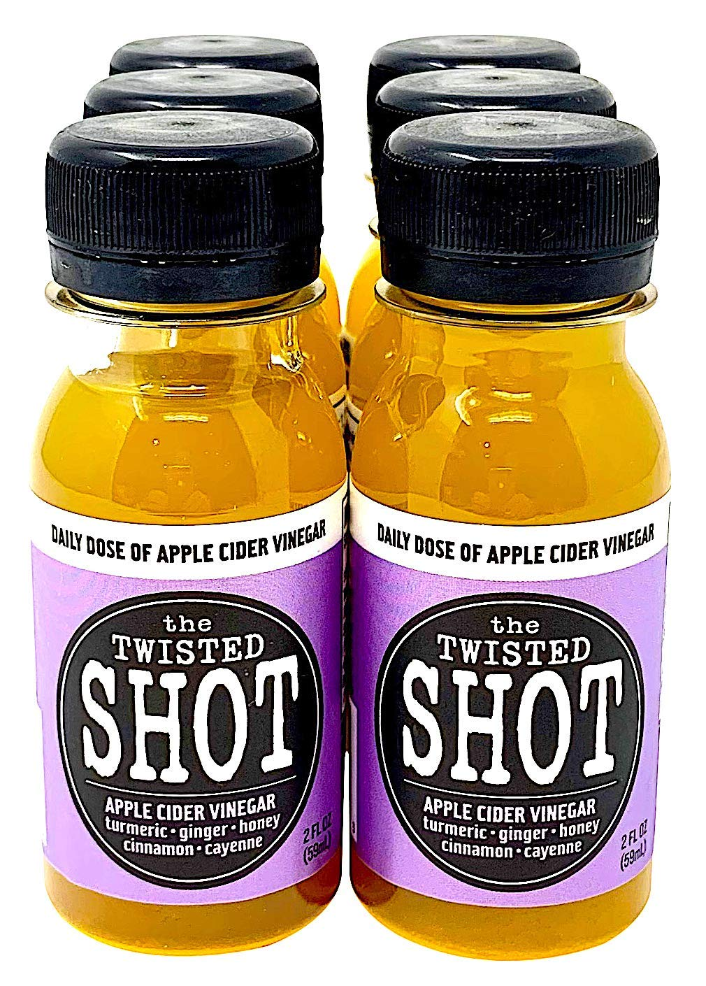 The Twisted Shot - Organic Apple Cider Vinegar Shots with Turmeric, Ginger, Cinnamon, Honey & Cayenne - 6-Pack of 2oz Shots