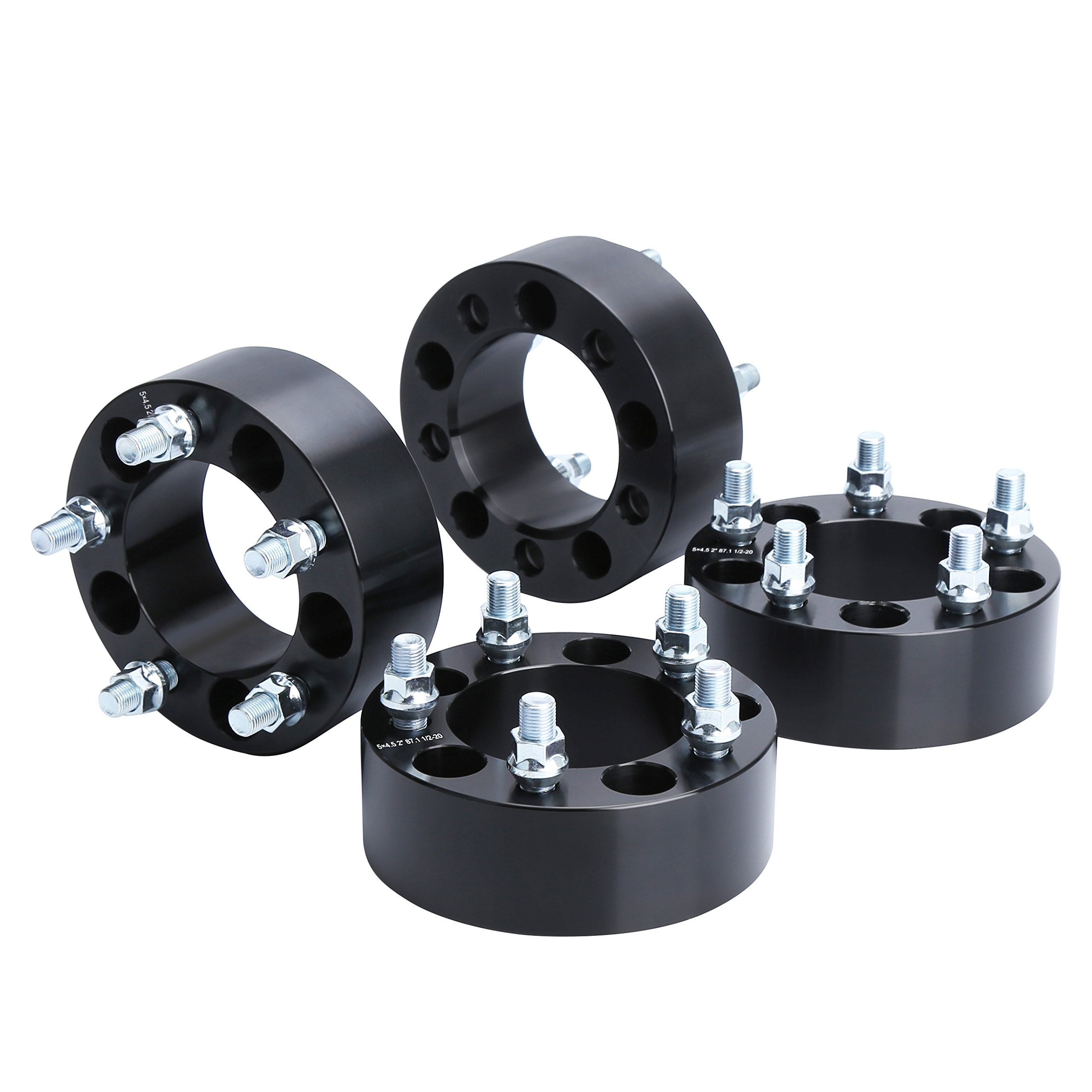 Wheel Spacers for Jeep TJ,YJ, KSP 4Pcs 2'' 5x4.5 to 5x4.5 (5x114.3) Thread Pitch 1/2-20 Hub Bore 82.5 mm 5 Lug 50mm Wheel Adapters for Cherokee Comanche Wrangler Grand Liberty, 2 Years Warranty Black