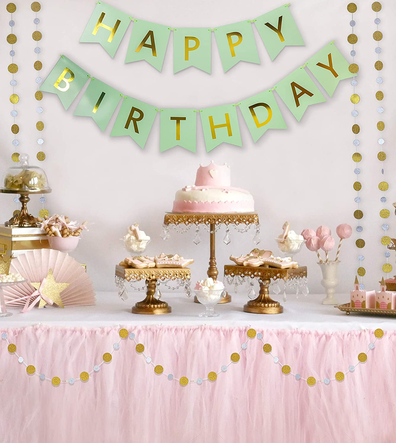 MAKFORT Mixed Color Happy Birthday Decoration Party Supplies for Adult or Baby Shower 1st Birthday with Happy Birthday Banner Birthday Balloons and Paper Pom Poms