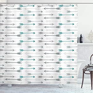 """Ambesonne Teal Shower Curtain, Retro Arrow Pattern in Horizontal Line Heading to Opposite Directions Art Print, Cloth Fabric Bathroom Decor Set with Hooks, 70"""" Long, Grey Teal White"""