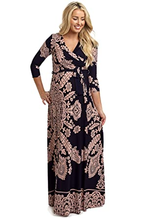 6febabb2dcd10 PinkBlush Maternity Navy Blue Pink Printed Draped Maternity Maxi Dress,  Large at Amazon Women's Clothing store: