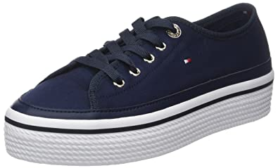 2f1c695d Tommy Hilfiger Women's Corporate Flatform Sneaker Low-Top, Blue (Tommy Navy  406)