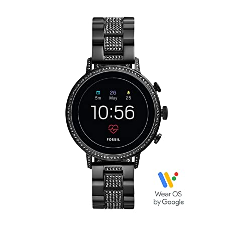 Fossil Womens Gen 4 Venture HR Heart Rate Stainless Steel Touchscreen Smartwatch, Color: Black (FTW6023)