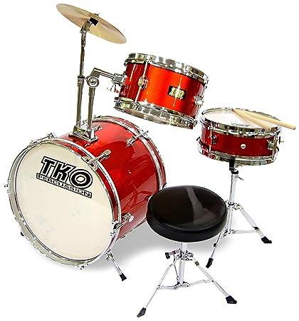 Amazon Com Tko 99tko99mr 3 Piece Junior Drum Set Metallic Red