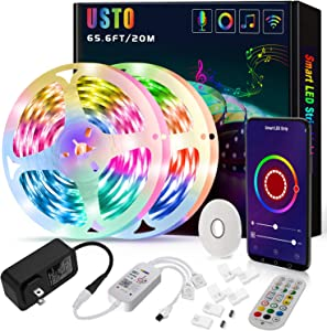 65.6ft Led Strip Lights, USTO Smart WiFi Led Lights Strip Work with Alexa and Google Home, Strip Lights Phone App Controlled Led Lights for Bedroom, Party, Home Decoration