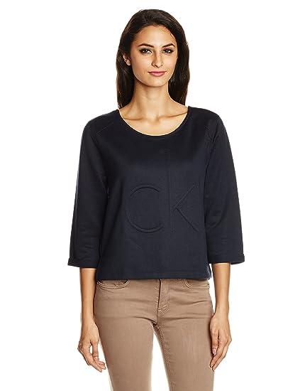 15fd8f3e0dda11 Calvin Klein Jeans Women s Cotton Sweatshirt (J203406 Black  XS Meteorite X-Small)