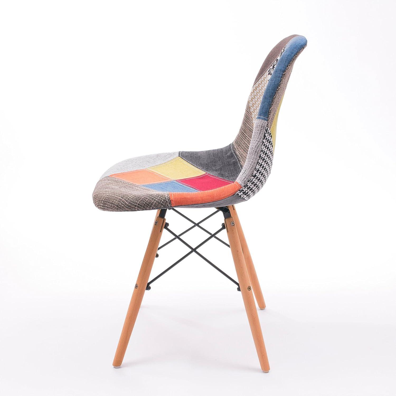 2 Unidades Silla de Comedor Cool tapizada en Tela Patchwork inspiraci/ón Silla Tower Homely