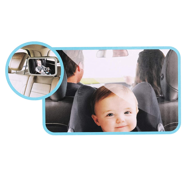 infrangibile CAMWAY Specchio per Auto per Bambini Grande Specchio di Sicurezza per seggiolino Auto Stabile Regolabile a 360 Gradi con Organizer per Aletta Parasole