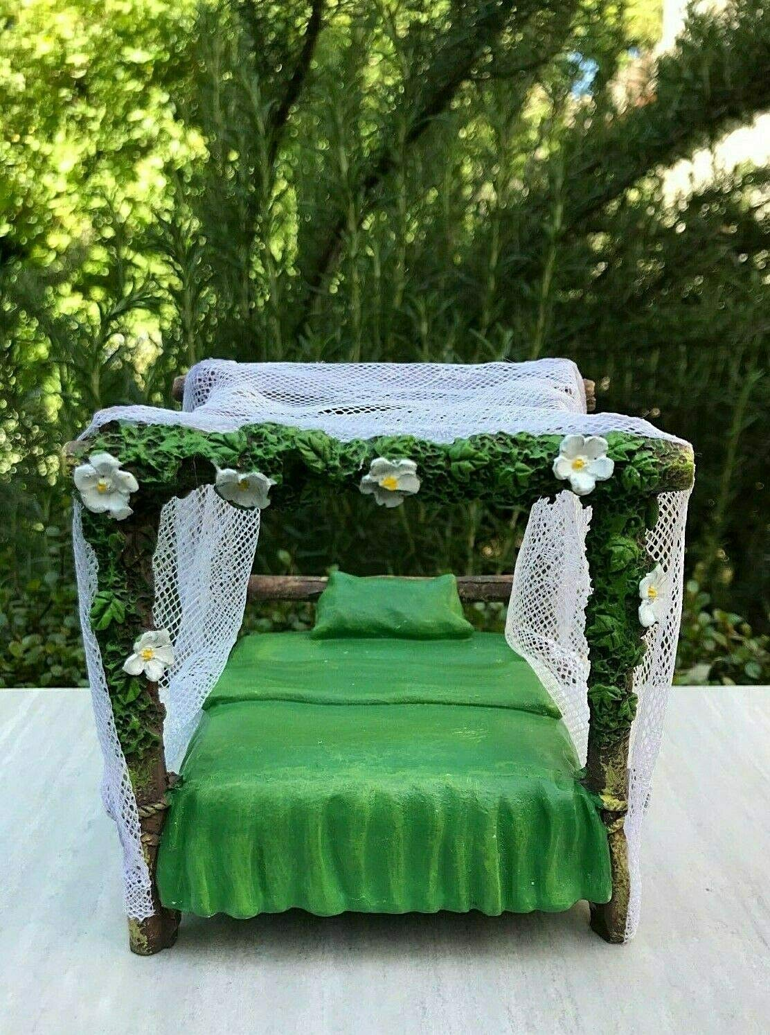 Miniature Dollhouse Fairy Garden Furniture ~ Large Green Canopy Bed with Tulle