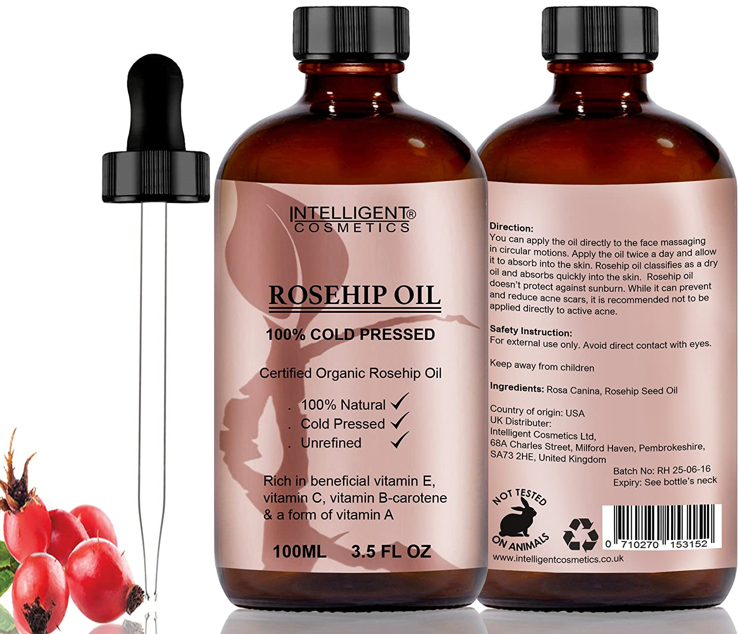 Rosehip Oil 100% Cold Pressed Pure Certified Organic Oil 100ml ...
