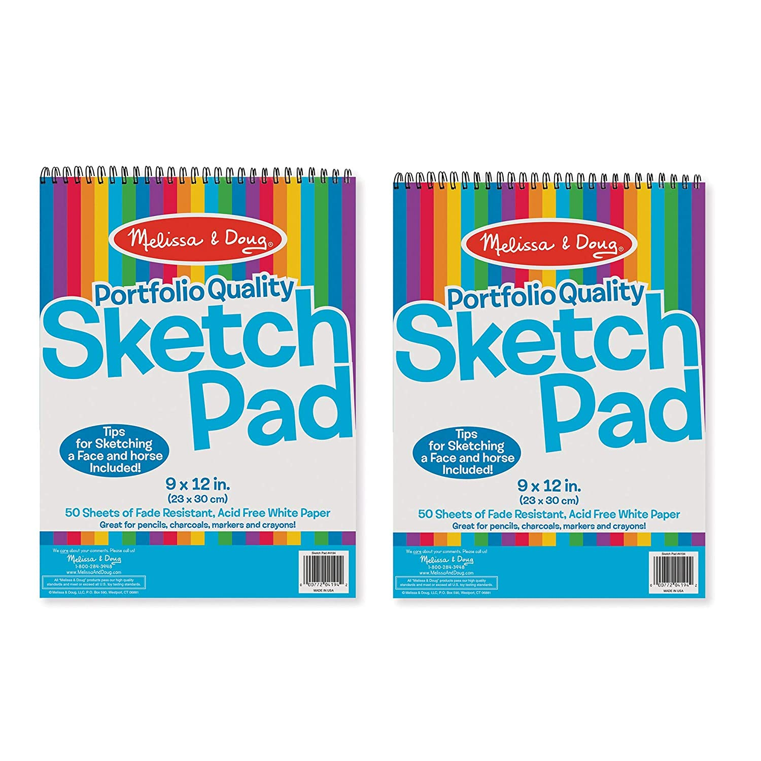 "Melissa & Doug Sketch Pad, Arts & Crafts, Fade-Resistant, Acid-Free White Paper, 50 Sheets, 2-Pack, 9"" W x 12"" L"