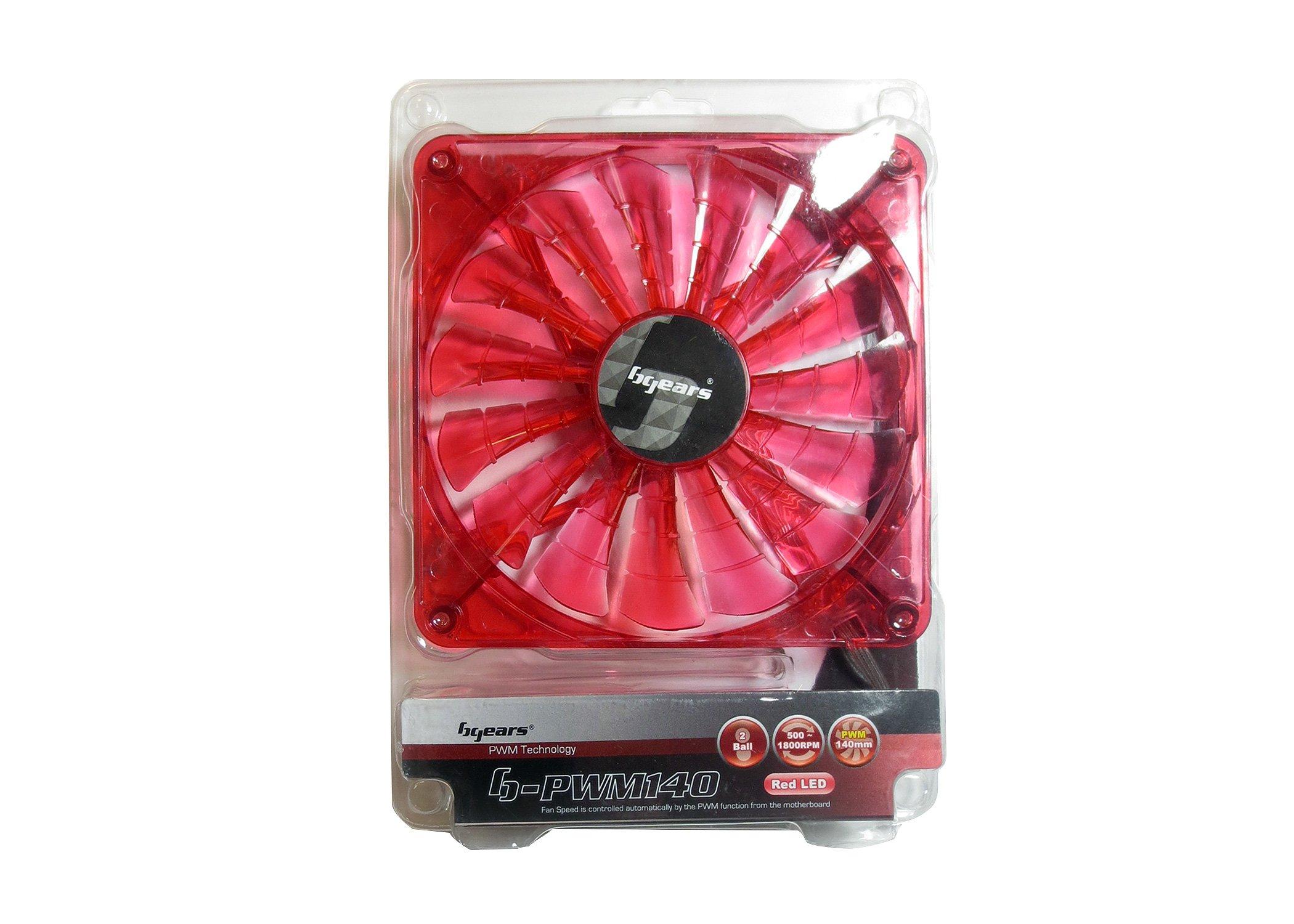 Bgears 140mm High Performance PWM Technology Fan - Translucent Red (b-PWM 140 Red 2ball)