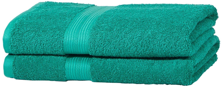 AmazonBasics - Juego de toallas (colores resistentes, 2 toallas de baño), color verde: Amazon.es: Hogar