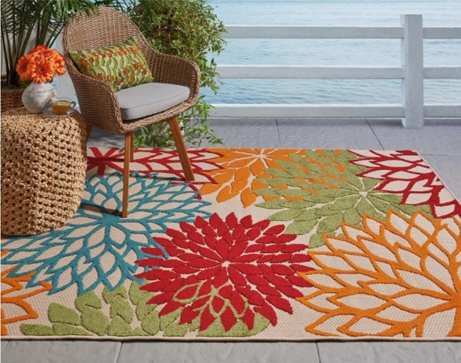 Featuring Tropical Garden Inspired Design Vibrant Floral Pattern Area Rug Rectangle Indoor Outdoor Living Room Bedroom Dining Patio Carpet Size 5 3 x 7 5 Colorful Stylish Chic Home Decor Green