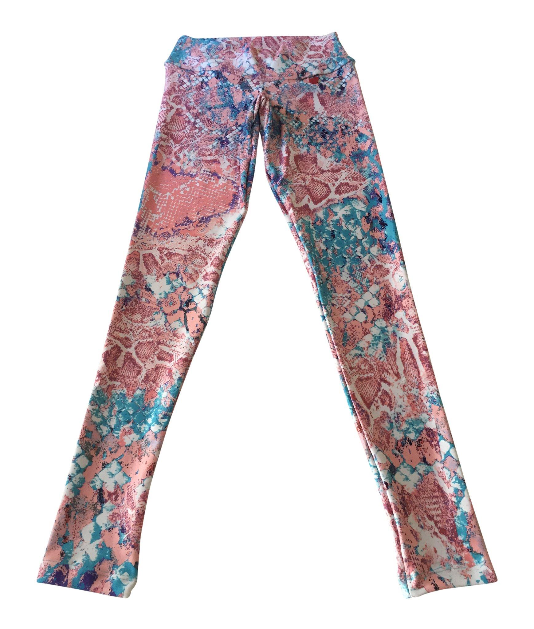 FITMAMA Girls Digital Snake Skin Printed Leggings, Pink Snake, Medium