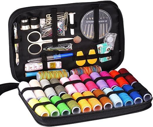 amatt Kit de costura, 24 carretes de hilo, práctico Mini Kit de costura Kit de costura de viaje, para principiantes, kit de costura de emergencia: Amazon.es: Hogar