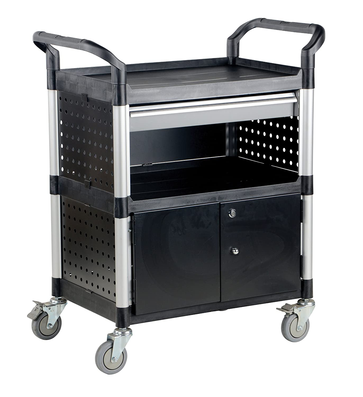 Vestil CSC-DD Food and Service Cart with One Drawer, Lower Cabinet and Panels on Three Sides, Black Plastic, 33