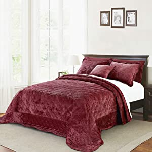 """Home Soft Things Supersoft Bedspread & Coverlet Set, 120"""" x 120"""", Burgundy"""