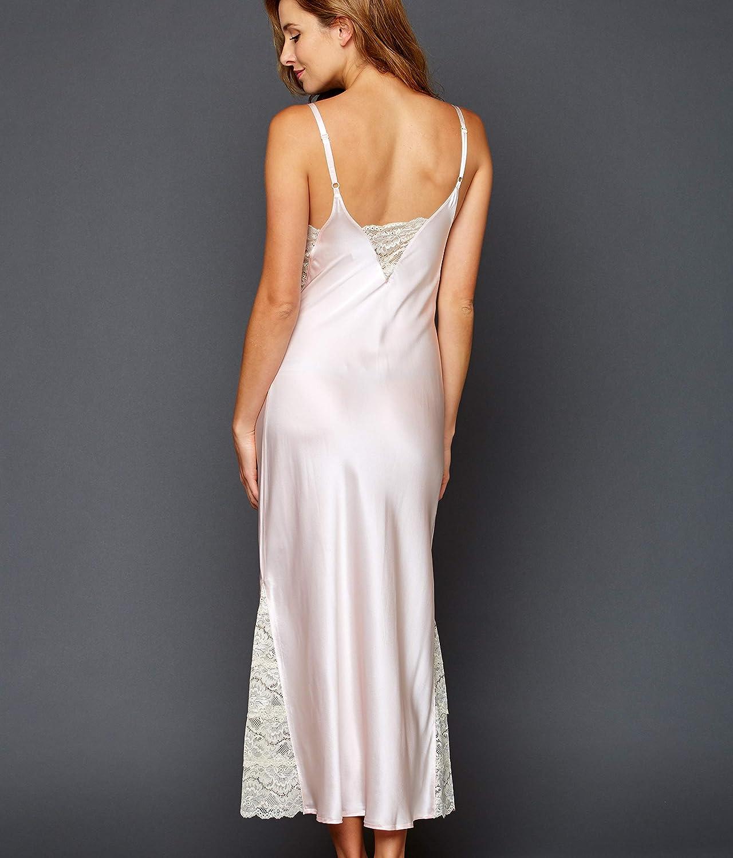 Rich Lace Insets 20158 Julianna Rae Womens Silk Long Gown Deep V-Neckline Lace Trim