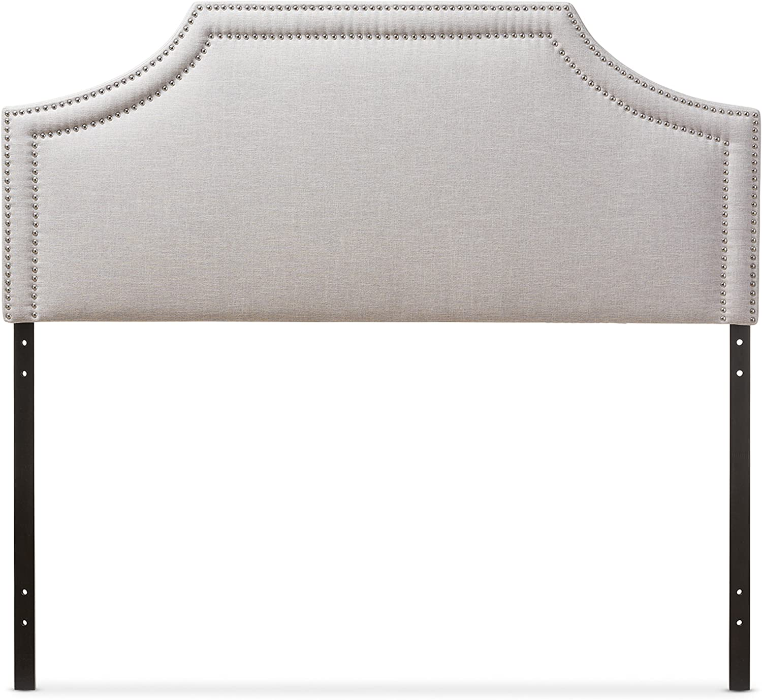 Baxton Studio Guifford Modern Contemporary Fabric Upholstered Headboard, Queen, Greyish Beige