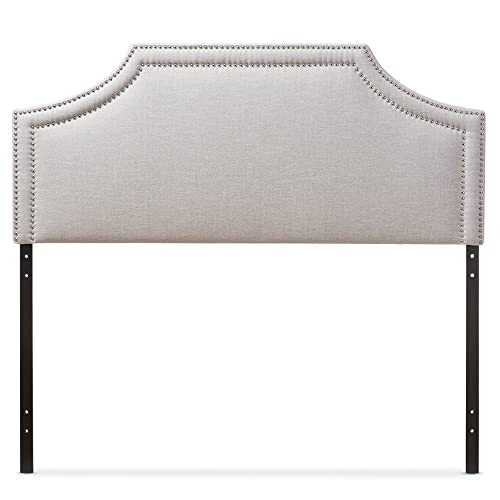 Baxton Studio Guifford Modern Contemporary Fabric Upholstered Headboard, King, Greyish Beige