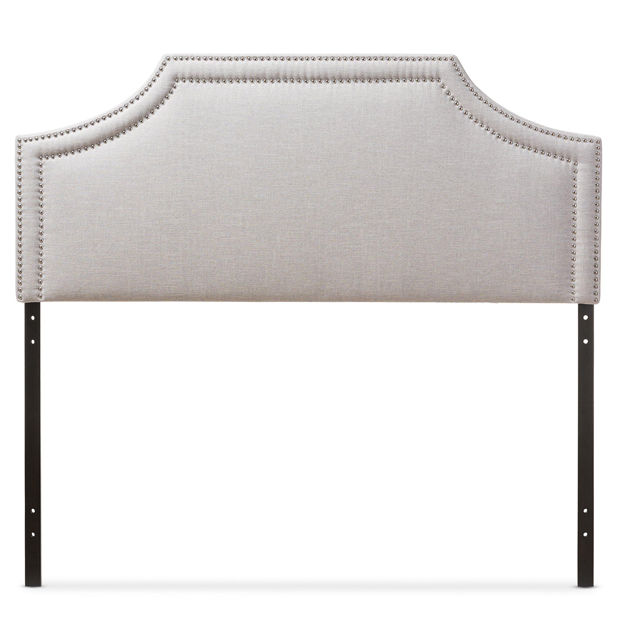 Baxton Studio Guifford Modern & Contemporary Fabric Upholstered Headboard, Queen, Greyish Beige