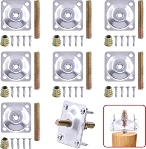Hilitchi 8 Sets Leg Mounting Plates with Hanger Bolts Screws Furniture Repair Leg Mounting Attachment Plates for Couch Chair Sofa Furniture Legs (Silver)