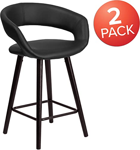 Flash Furniture 2 Pk. Brynn Series 24 High Contemporary Cappuccino Wood Counter Height Stool in Black Vinyl