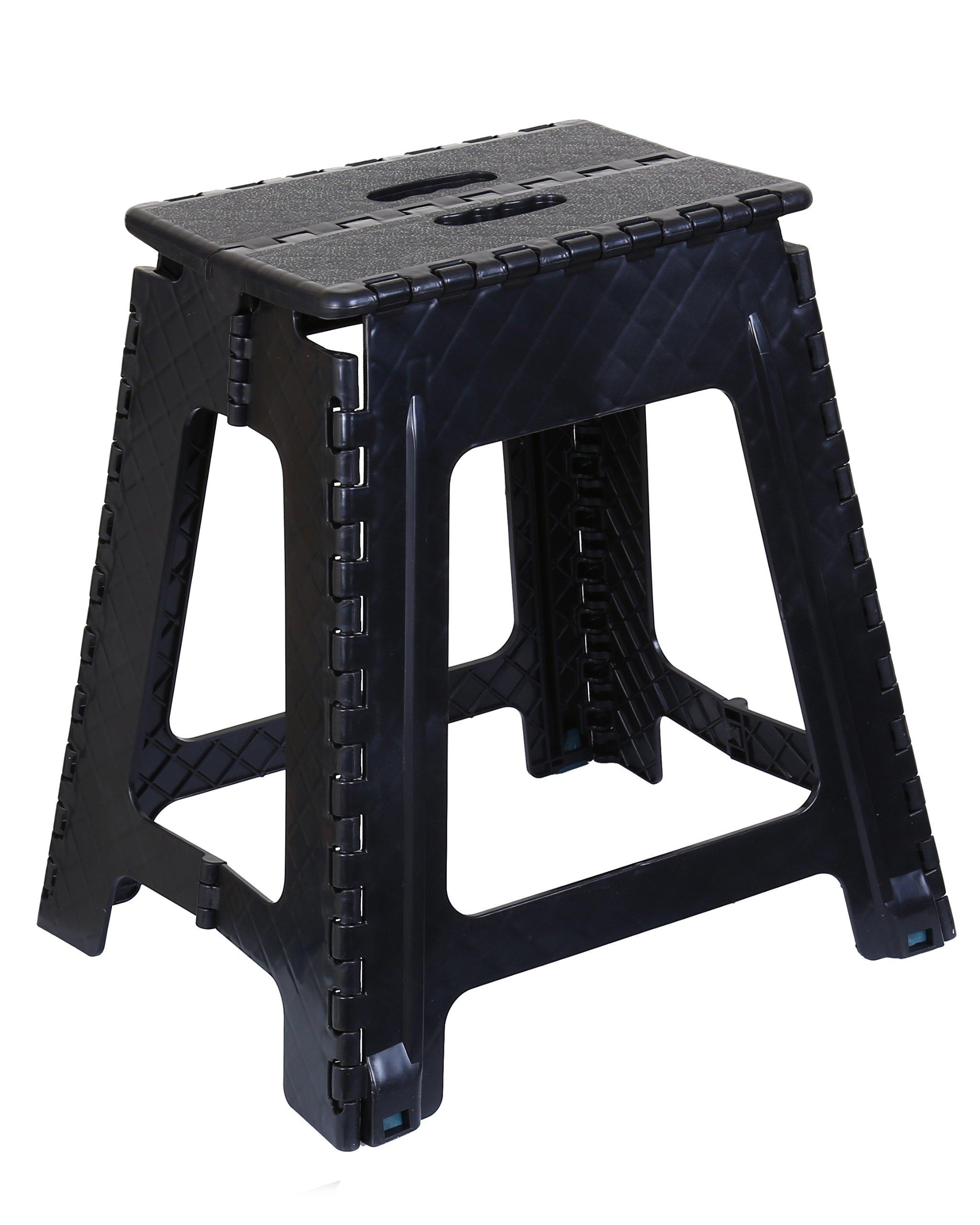 Superior Performance Folding Step Stool 18 Inch (Grey) (Black)