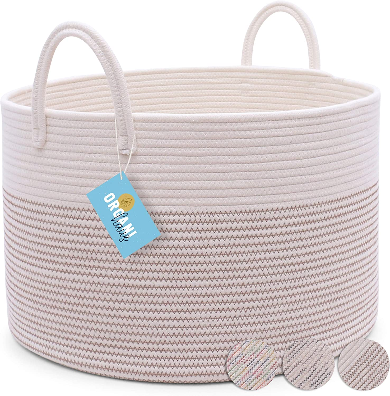 """OrganiHaus Cotton Rope Basket in Brown and Off-White 