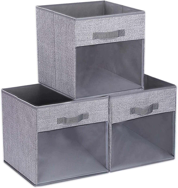 DIMJ Cube Storage Bins, 3 Packs Clear Window Fabric Storage Bin Organizer for Closet Shelves Home Storage Cubes Organizer with Handles