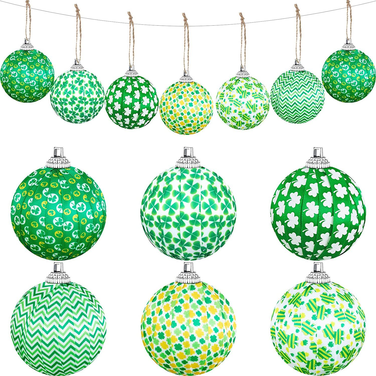 18 Pieces St. Patrick's Day Ornaments Hanging Balls Green Shamrock Fabric Wrapped Balls Decorations Hanging Ball Decorative Supplies for St. Patrick's Day Party Home Decorations, 6 Designs